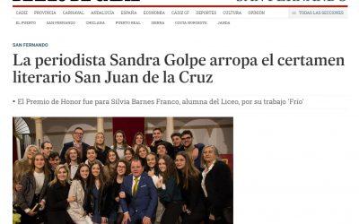 La periodista Sandra Golpe arropa el certamen literario San Juan de la Cruz ( Diario de Cádiz )